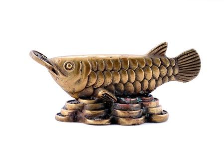 Messing Arowana Wird als Feng Shui Artikel zu Reichtum zu verbessern Standard-Bild - 10033062