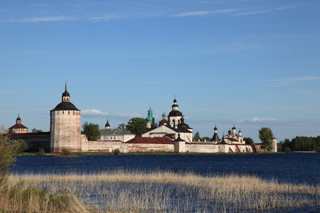 Old Kirillo-Belozersky monastery, general view from lake. Russia