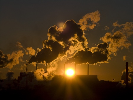 Industrial landscape.The big factory pollutes air Stock Photo