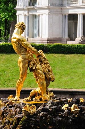 Fountains in Petergof park, Saint-Petersburg, Russia photo