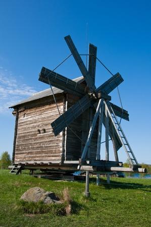 Windmill. Beautiful Kizhi island on north of Russia Stock Photo