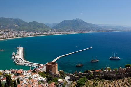 Beautiful view of city Alanya in Turkey. Red tower and harbor photo