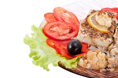 Fried fish with a cauliflower Stock Photo - 10953799