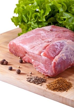 Fresh raw meat and spices