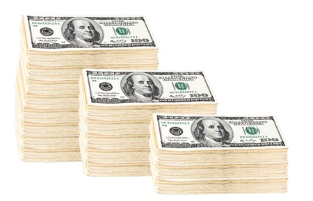 Roll of money of 100 dollars isolated on white photo