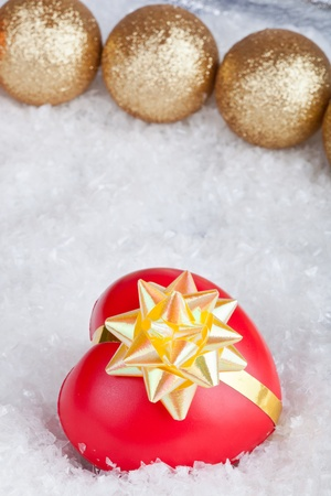 Christmas ball and heart photo