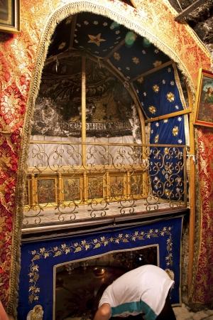 Very rare photos. Interior of church of the Nativity of Jesus Christ. Jesus Christ birthplace-Silver Star Stock Photo - 11729389