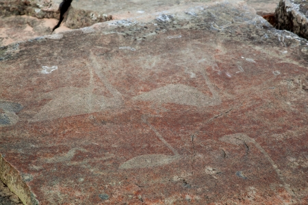 onega: Mysterious petroglyphs of Onega  Made 6000 - 5000 years ago  Stock Photo