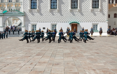 MOSCOW - JUNE 30: The guard of the president of Russia shows representation for guests in the Moscow Kremlin on June 30, 2012 in Moscow