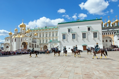 cavalryman: MOSCOW - JUNE 30: The guard of the president of Russia shows representation for guests in the Moscow Kremlin on June 30, 2012 in Moscow Editorial