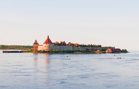 Shlisselburg Fort Oreshek on a sunset Stock Photo - 14762542