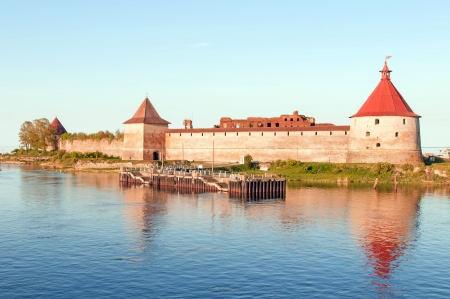Shlisselburg Fort Oreshek on a sunset