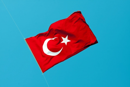 Waving flag of Turkey under sunny blue sky Stock Photo - 14837233
