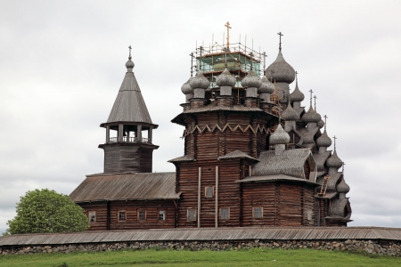 Wooden churches on island Kizhi on lake Onega, Russia photo