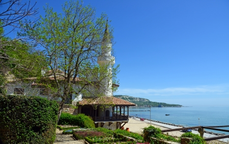 Residence of the Romanian queen by the black sea in Balchik, Bulgaria Stock Photo