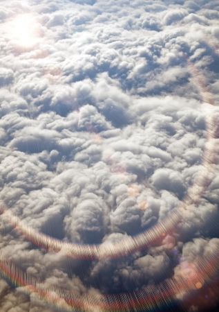 View of clouds from a airplane window photo