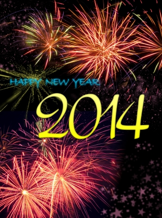 Christmas and New Year background with fireworks Stock Photo - 23009109