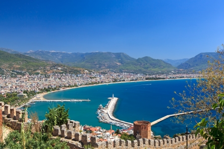 Beautiful view of city Alanya in Turkey  Red tower and harbor Stock Photo