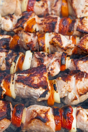 Shish kebab on skewers photo