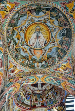 Wall painting at Rila Monastery church. The monastery is the largest in Bulgaria