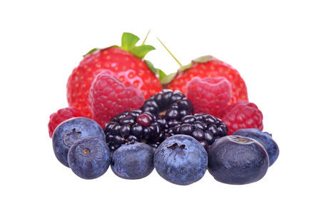 Closeup of assorted fresh berries isolated on white background Stock Photo