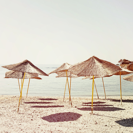 Parasols on the beach photo