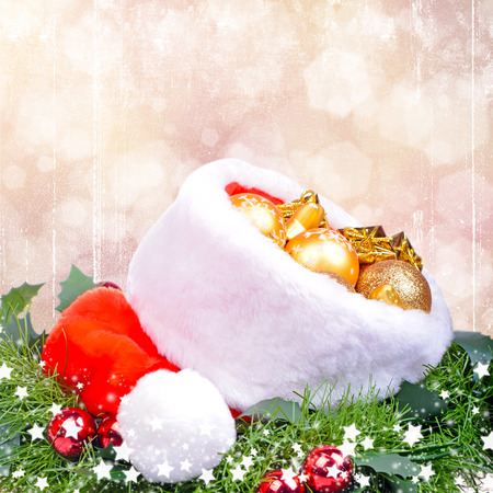Christmas card with red Santa Claus hat photo
