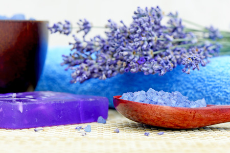 lavender: Spa treatments of lavender flowers, lavender soap and lavender sea salt