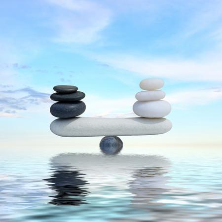 zen water: Zen concept background-The balance between the black and white zen stones