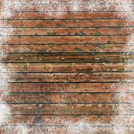 inducement: Christmas background with old wooden planks and snow flakes Stock Photo