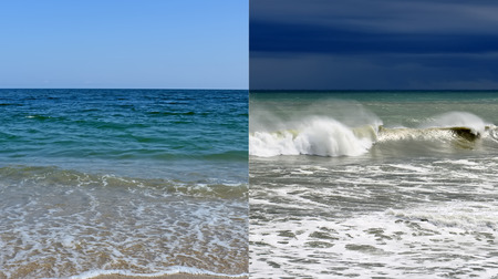 seasonality: Calm sea and a storm at sea.Concept of climate change,seasonality,storm and calm sea Stock Photo