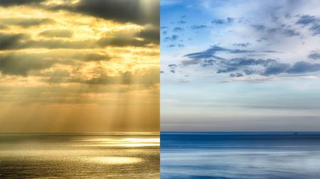 rain cloud: Calm sea and a storm at sea.Concept of climate change,seasonality,storm and calm sea Stock Photo