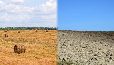 Trockenen und fruchtbar soil.Concept des Klimawandels, Saisonabhängigkeit, Dürre und Ernte Standard-Bild - 46920102