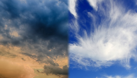 seasonality: Cirrus and cumulus clouds in the sky.Concept of climate change,seasonality