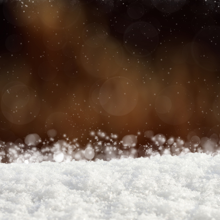 crystalline gold: Dark Christmas background with various bokeh and snow drifts