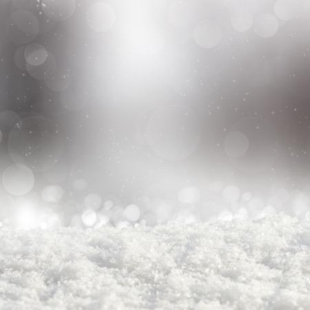 estrella: Fondo de plata de Navidad con diversas derivas bokeh y nieve
