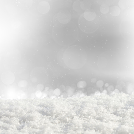 crystalline gold: Silver Christmas background with various bokeh and snow drifts