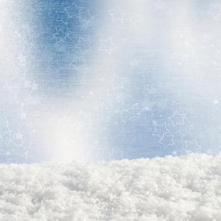 crystalline gold: Blue Christmas background with various bokeh and snow drifts