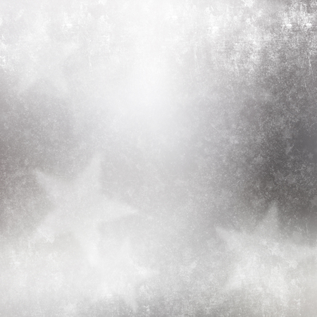 silvery: Abstract silver grunge background with stars,scuffs and scratches
