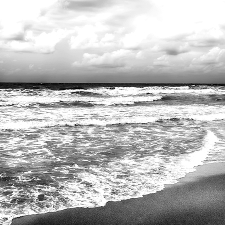 stormy sea: Black and white stormy sea after a rain