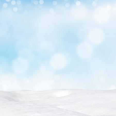 Blue winter background with various bokeh and snowdrift