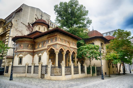 places of worship: Stavropoleos monastery,St. Michael and Gabriel church in Bucharest,Romania.HDR image Stock Photo