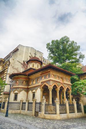gabriel: Stavropoleos monastery,St. Michael and Gabriel church in Bucharest,Romania.HDR image Stock Photo