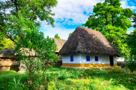 village house: The old houses,village museum,Bucharest,Romania,Europe,HDR image Editorial