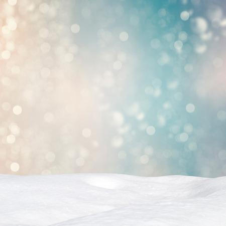 snowdrift: Winter background - Abstract bokeh lights and snowdrift Stock Photo