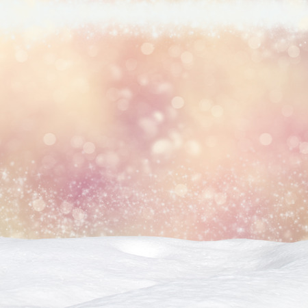 crystalline gold: Winter background - Abstract bokeh lights and snowdrift Stock Photo