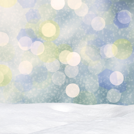 crystalline gold: Winter background-Abstract bokeh lights and snowdrift Stock Photo