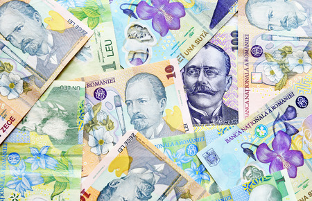 lei: Romanian lei banknotes close-up Stock Photo