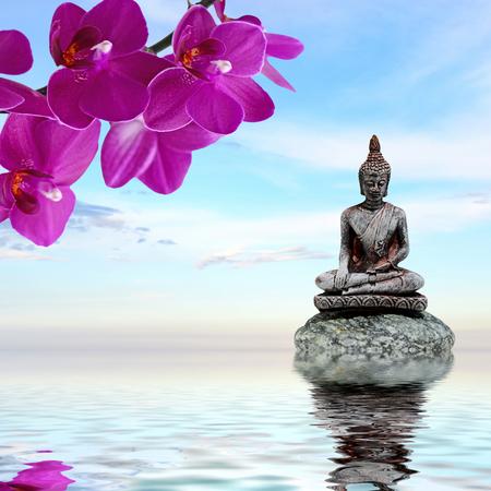젠 또는 펭 - 배경 - 선 돌, 난초 꽃과 부처님 물에 반영 스톡 콘텐츠