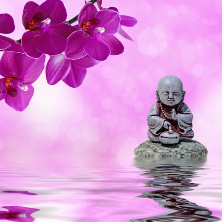 fengshui: Zen or Feng-Shui background-Zen stone,orchid flowers and Buddha reflected in water Stock Photo